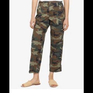 Anthropologie Cropped Camo Cargo Pants